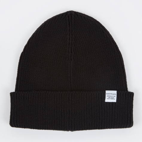 Cotton Watch Beanie - Black
