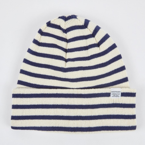 Classic Normandy Top Beanie - Ecru/Navy