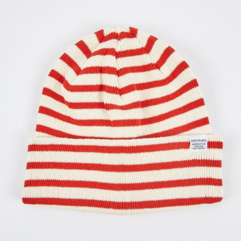Classic Normandy Top Beanie - Ecru/Orange