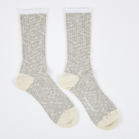 Bjarki Slub Socks - Light Grey Melange