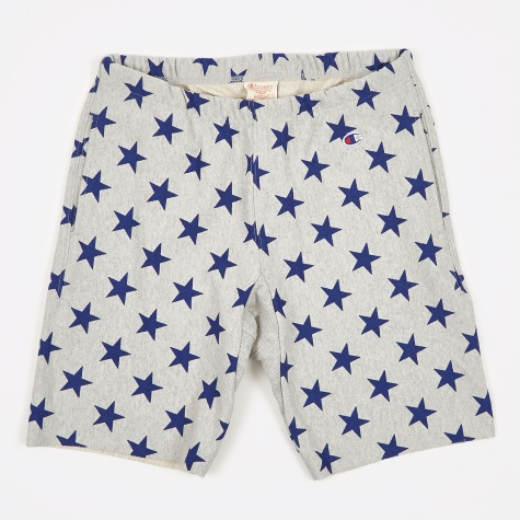 Reverse Weave All Over Star Print Shorts - Grey