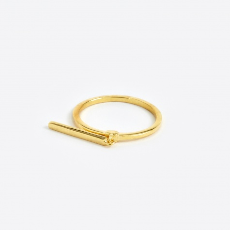 Creed Long Bar Ring - Polished Gold 14K