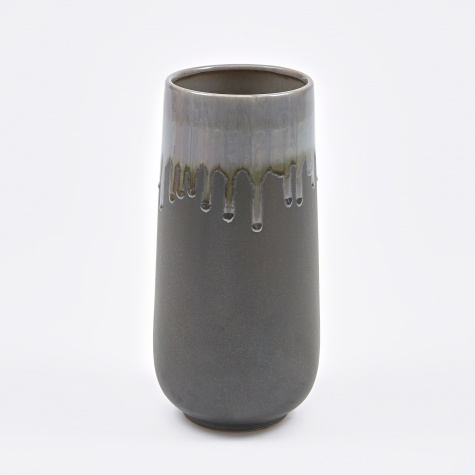 Vase 'Laust' Cylinder L Ceramic - Light Grey / Grey