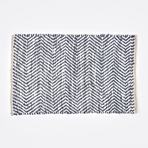 Rug 'Zigzag' Cotton 60x90cm - Flint Stone Blue