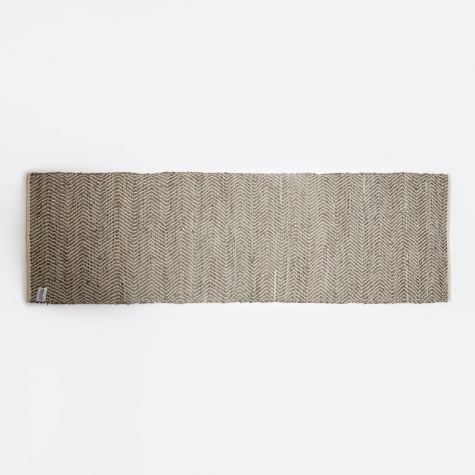 Rug 'Zigzag' Leather / Cotton 80x250cm - Light Grey