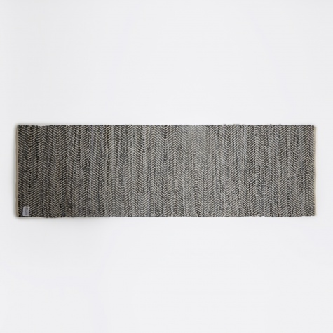 Rug 'Zigzag' Leather / Cotton 80x250cm - Dark Grey