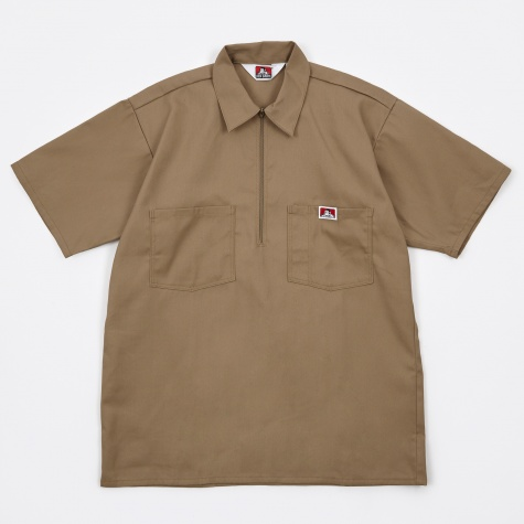 Half Zip Work Shirt - Khaki