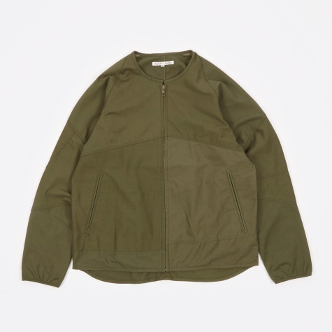 Fatigue Shirt Zipped Crew Neck Jacket - Olive