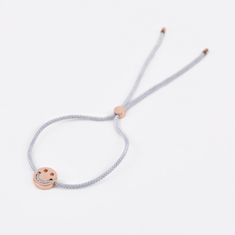 Grey Cord Happy Bracelet - 18K Rose Gold Vermeil