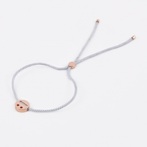 Grey Cord Thoughtful Bracelet - 18K Rose Gold Vermeil