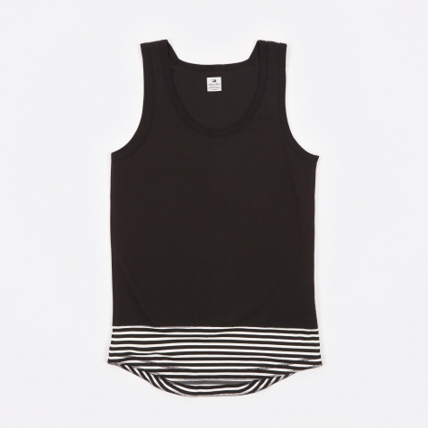 Layered Border Tank Top - Black