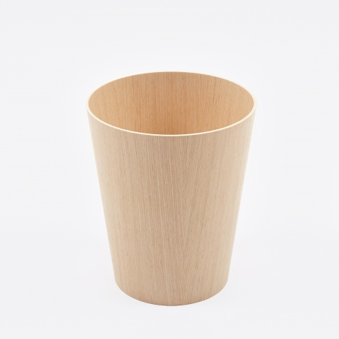 Wooden Paper Basket H30 - White Oak Grain