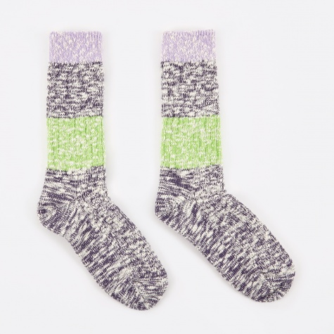 Capri Stripe Socks - Purple