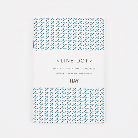 Line Dot Notebook Small - Red/Blue