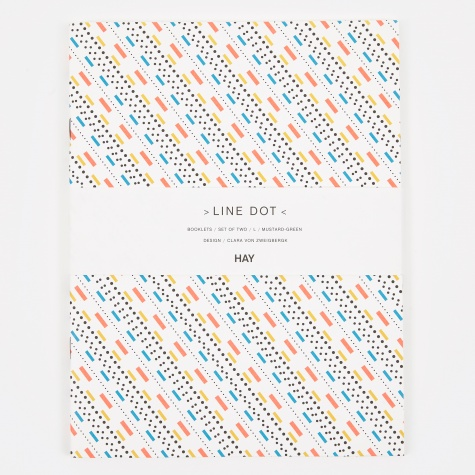 Line Dot Notebook Large - Mustard/Green
