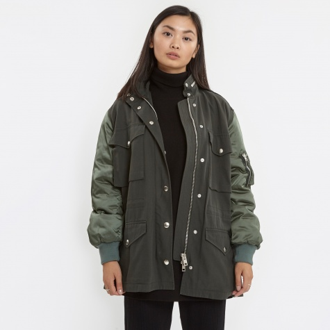 Parka Jacket With Bomberd - Army