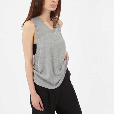 T By Alexander Wang Enzyme Washed French Terry Tank - Heather Gr