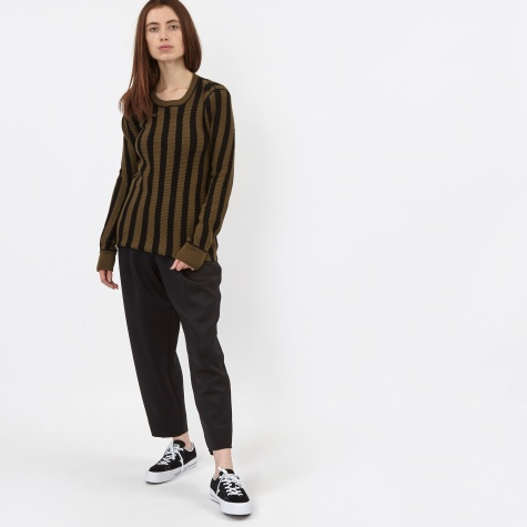 T By Alexander Wang Striped Waffle Knit Crewneck Pullover - Army