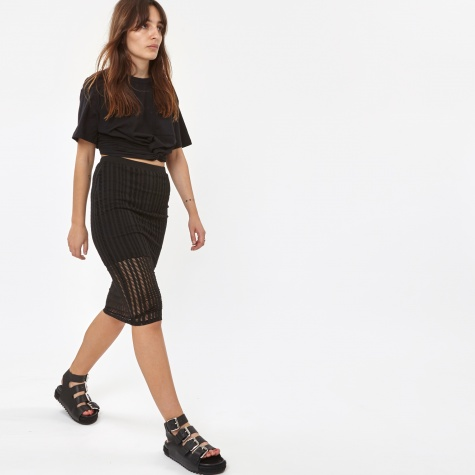 T By Alexander Wang Stretch Cotton Jersey Fitted Skirt - Black (