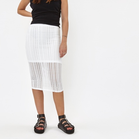 T By Alexander Wang Stretch Cotton Jersey Fitted Skirt - White (