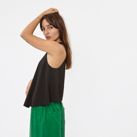 T By Alexander Wang Stretch Silk Twill Sleeveles Trapeze Top - B