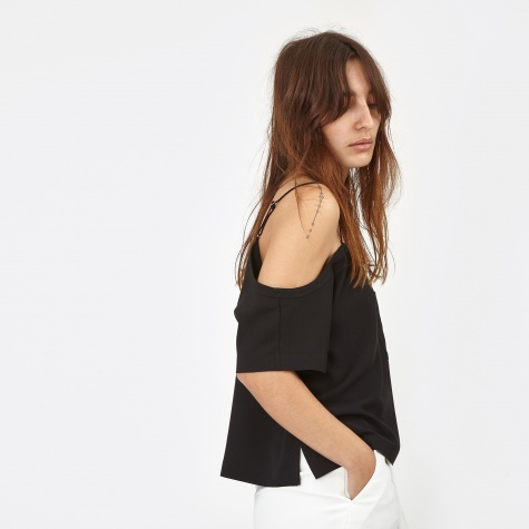 T By Alexander Wang Poly Crepe Off The Shoulder Top - Black (403