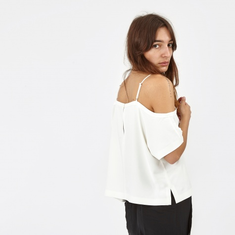 T By Alexander Wang Poly Crepe Off The Shoulder Top - Ivory (403