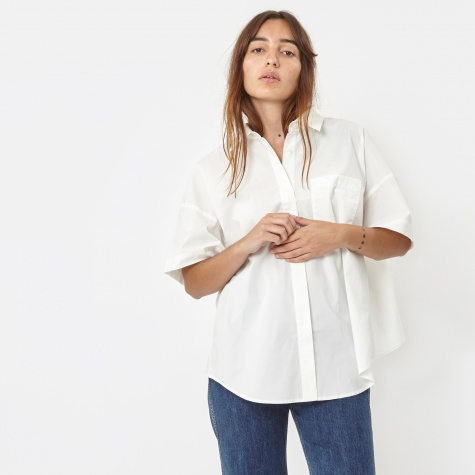T By Alexander Wang Garment Dyed Cotton Poplin Trapeze Shirt- Wh