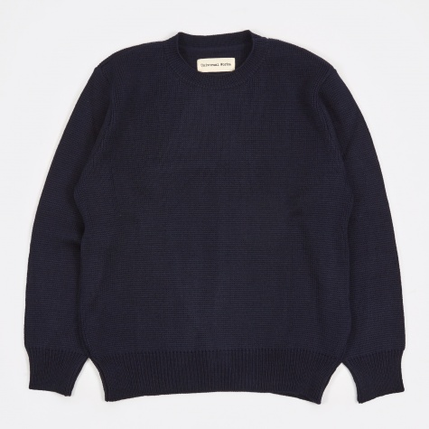 Loose Fisherman Jumper - Navy
