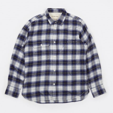 Japanese Brush Check Chore Shirt - Blue Check