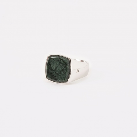 Cushion Ring - Green Marble