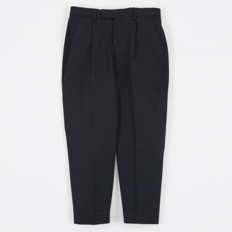 Wide Tailored Trousers - Navy Wool Twill