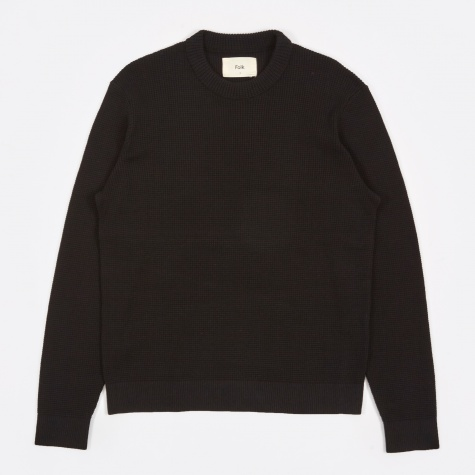 Cotton Waffle Jumper - Black