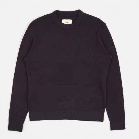 Cotton Waffle Jumper - Navy