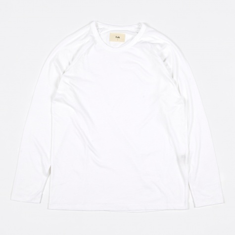 Long Sleeve Nep Tee - White Neps