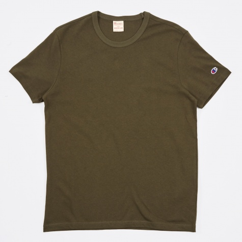Reverse Weave Crew Neck T-Shirt - Olive