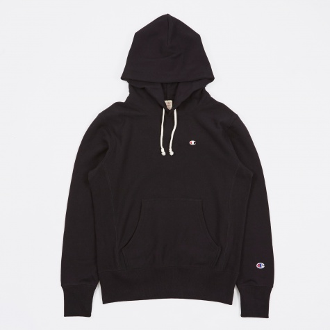 Reverse Weave Hooded Sweatshirt - Black
