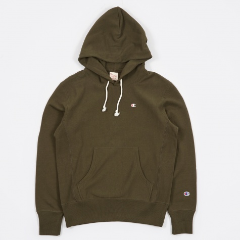 Reverse Weave Hooded Sweatshirt - Olive