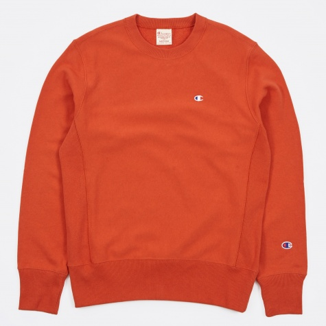 Reverse Weave Crew Neck Sweatshirt - Orange