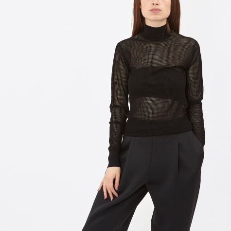 L/S Mesh Turtleneck Pullover - Black