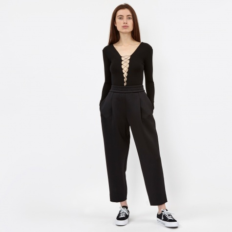 Cropped Pleated Pull On Pant - Black