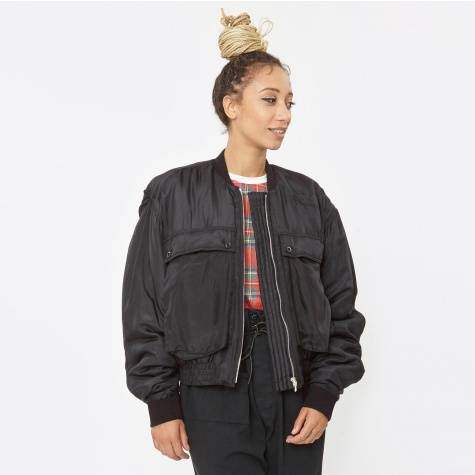 Silk Padded Bomber - Black