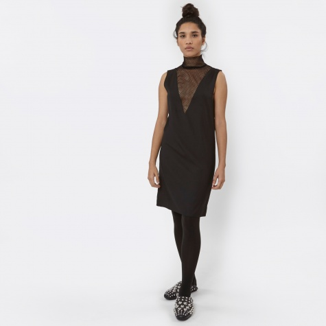 MM6 Mesh Insert Dress - Black