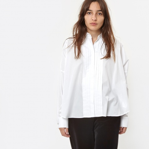 MM6 Poplin Shirt With Pleats - White