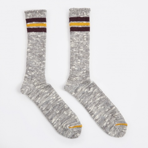 3 Line Slub Crew Sock - Grey