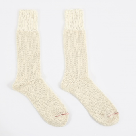 Wool Slub Crew Sock - Off White
