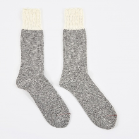 Wool Slub Crew Sock - Grey