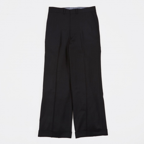 Wool Twill Wideleg Pant - Black