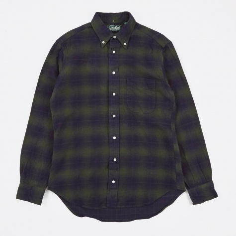 Indigo Based Olive Flannel Shirt - Navy/Olive