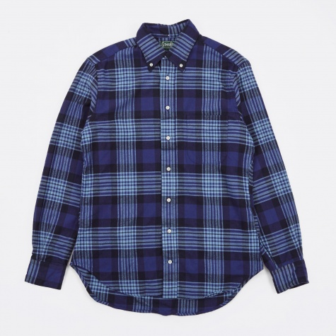 1-Sided Brushed Japanese Flannel Shirt - Blues